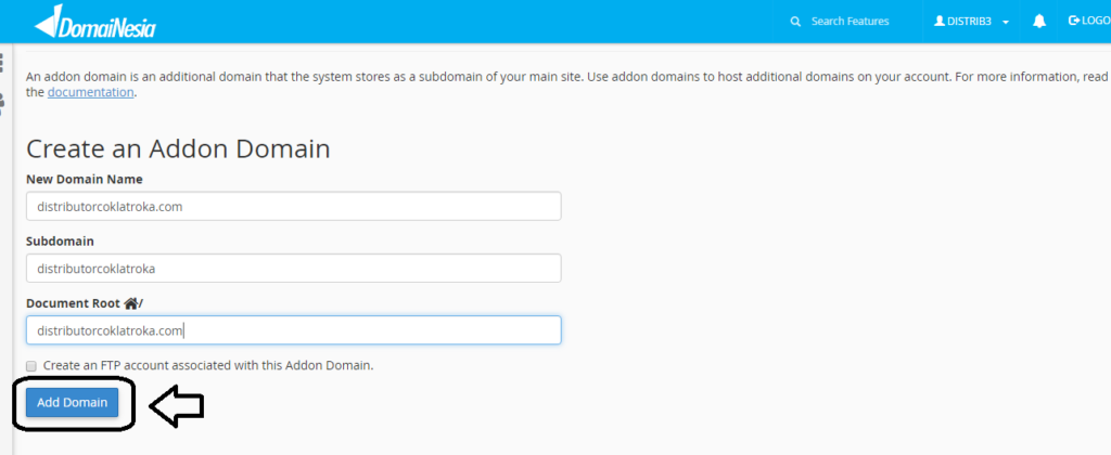 how to create addon domain cpanel