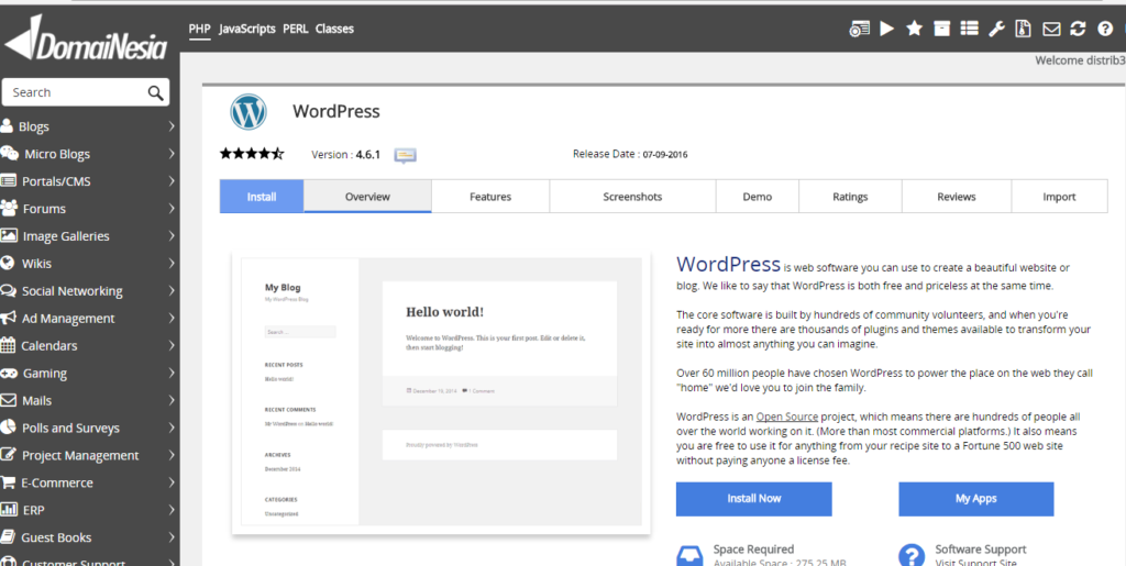 Install WordPress di Instant Deploy Apps Domainesia