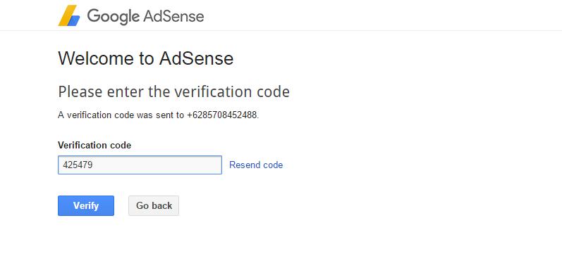 Masukan Kode Verifikasi Google Adsense