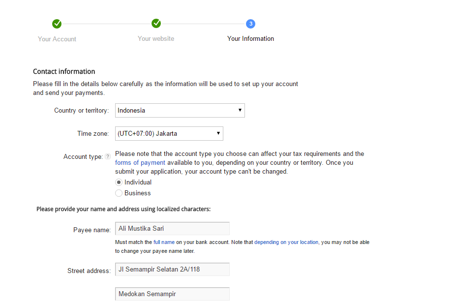 Memasukan Data Google Adsense
