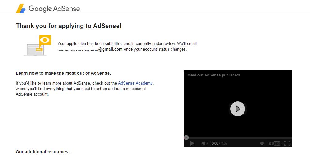 Pendaftaran Google Adsense Selesai
